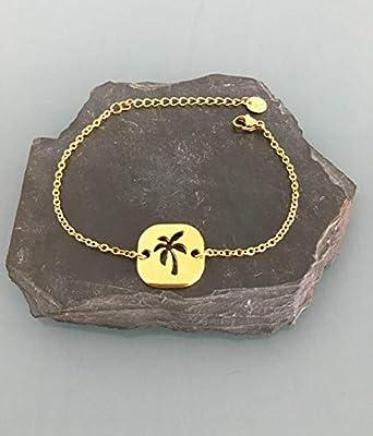 Bracelet palmier, Bracelet femme gourmette palmier plaqué or 24 k, bracelet doré, idée cadeau, bracelet palmier, bijoux cadeaux, bijou femme or