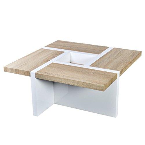 vidaXL Table Basse Aspect chêne Blanc Haute Brillance MDF 80 x 80 x 35,4 cm