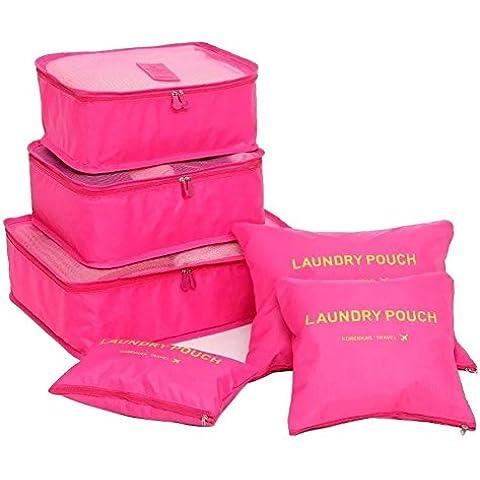 NewPI Organizer per Valigie.6 in 1 Bagagli Organizzatori Kit per Viaggio, 3 Cubi di Imballaggio + 3 Sacchetti—Bagagli Organizzatori, ,Beaty Case, lavanderie, Borsa asciugamano,ecc