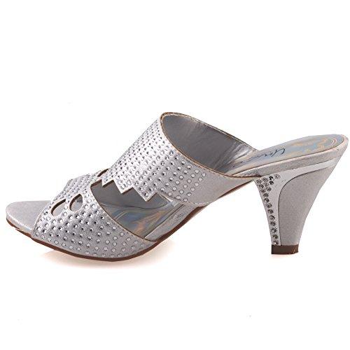 Unze Womens ' Carson ' Moda sandali con zeppa Argento