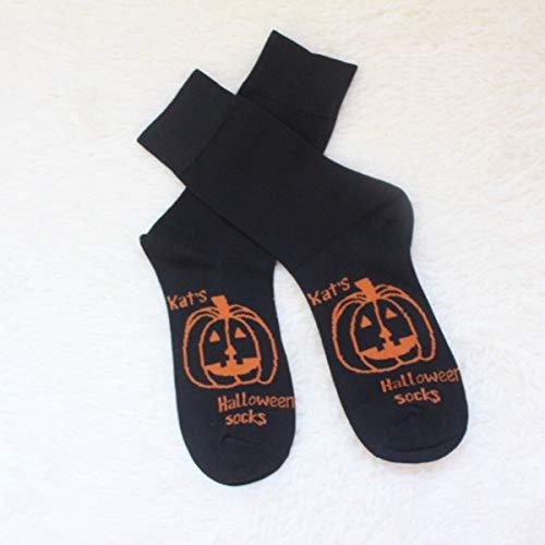Nosii Frau/Mann-Kürbis-Muster-Spaß-Neuheit-beiläufige Socken weiche Breathable Socken für Festival Halloween (Color : Black)