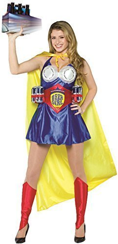 Hero Damen Henne Do Abend Party Comedy lustig Oktoberfest Superheld Kostüm Kleid Outfit (Beste Superhelden Kostümen Uk)