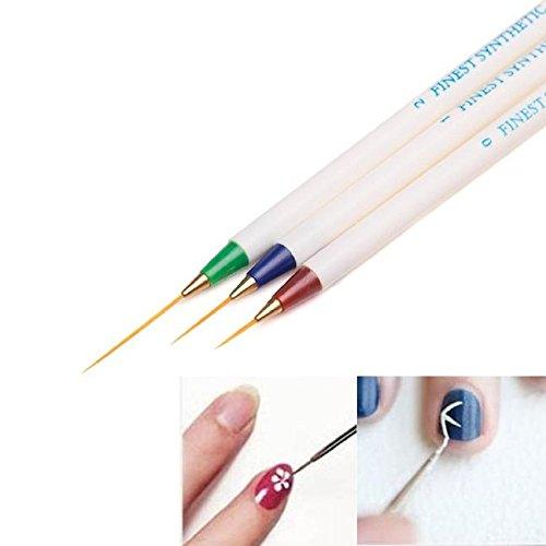 SMILEQ® 3PCS Nail Art Design Set Punktierung Malerei Zeichnung Pinsel Stift Werkzeuge (mehrfarbig) (Nail Halloween Kurze Für Designs Art Nägel)