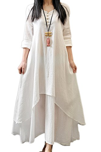 Frauen Lässig Elegante Plus Size Bettwäsche Asymmetrischen / Hals Partei Skater Mit Maxi - Kleid White XXL (Hals Asymmetrische)
