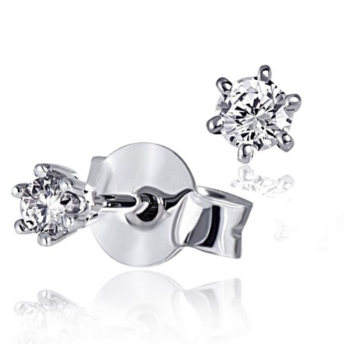 Goldmaid Pendientes de Mujer de oro blanco con Corte Brillante Redondo Diamante
