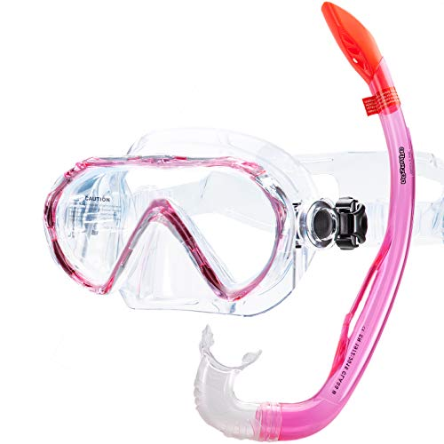AQUAZON Korfu Hochwertiges Schnorchelset, Tauchset, Schwimmset, Schnorchelbrille mit Tempered Glas, Schnorchel mit semi Dry top für Kinder, Jugendliche Von 7-14 Jahren, Colour:pink