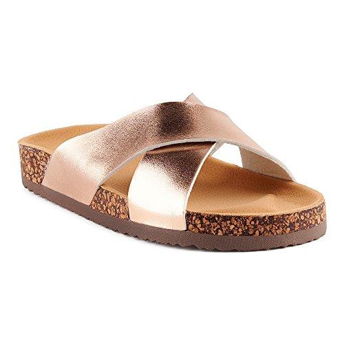 Fusskleidung Damen Sandalen Lack Glitzer Komfort Sandaletten Metallic Schlappen Zehentrenner Hausschuhe Pantoletten Berlin-Rose-Gold EU 38