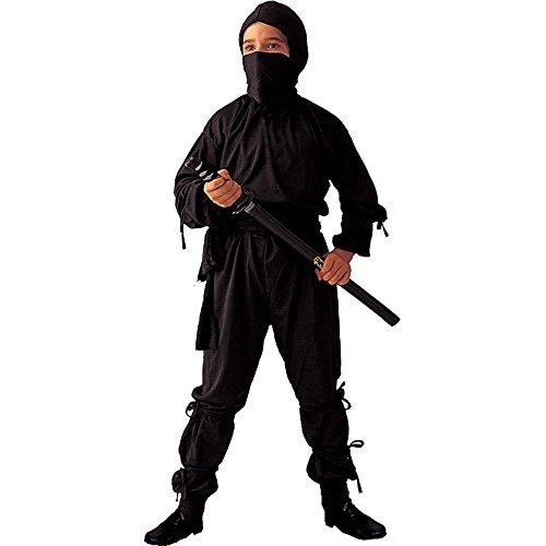Seiler24 Schwarzes Ninja Kinder Kostüm 128 bis (Jahre Kostüme Ninja 10 Kinder Für Bis)