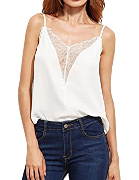 Koly_Carro armato delle donne Lace chiffon top senza maniche T-shirt camicetta casual