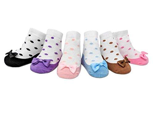 Baby Emporio - Baby Anti-Rutsch-Socken im Schuh-Design für Mädchen - weiche Baumwolle - mit Geschenkbeutel - 0-12 Monate - 6 Paar (Lovies 0-12 Monate) (Ballerina Organza)