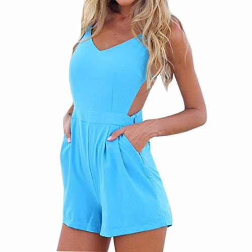 QIYUN.Z Halter Femmes Cou Backless Salopette D'ete Sans Manches Decontracte Barboteuses V Decollete Bleu