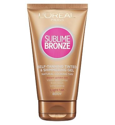 L'Oreal Sublime Bronze Self-tanning Gel tinted and shimmering for face body - 150ml (Tanning Gel)
