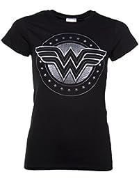 Womens Black Wonder Woman Movie Logo T Shirt