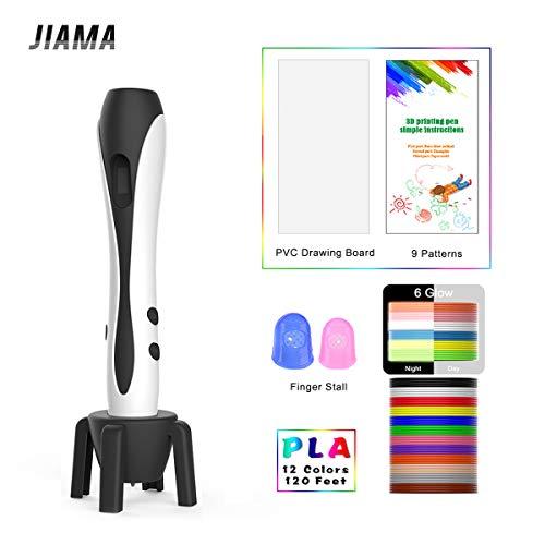 3D Stift Weiß mit LCD Display, Militärmotor, 2 Fingerlinge, 9 Papierschablonen, 12 Farben PLA, 1 Stifthalter/Kompatibel mit PLA & ABS Filamenten/JIAMA JM-B661