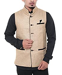 Twist Mens Sleeveless Nehru / Modi Cote Casual Festive Party Wear Plain Waist Coat (Beige)