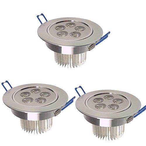 SAILUN 3x 5W Blanc Chaud LED Spot Encastrable Plafonnier Lampe Spot Spot Set Projecteurs encastrés 2800-3000K 400LM AC 85V-265V