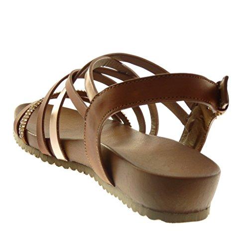 Angkorly Chaussure Mode Sandale Lanière Cheville Spartiates Femme Multi-Bride Strass Diamant Brillant Talon Compensé 3.5 CM Camel