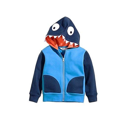 GWELL Jungen Kinder Sweatshirt aus Baumwolle mit Kapuze & Reißverschluss Sweatshirtjacke Dinosaurier Tieroutfit Blau 110