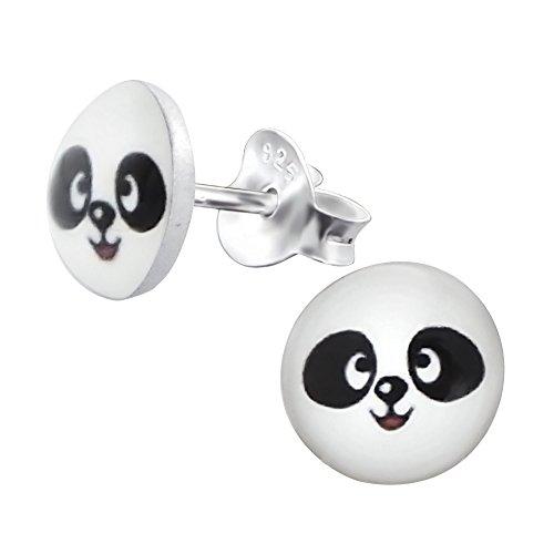 Laimons Mädchen Kids Kinder-Ohrstecker Ohrringe Kinderschmuck Pandabär Bär Tier schwarz weiß Platte Scheibe aus Sterling Silber 925 (Platte Tier -)