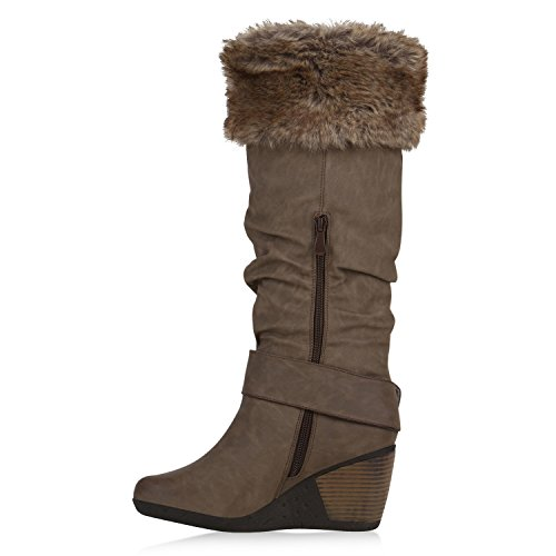 Gefütterte Damen Stiefel Keilabsatz Keilstiefel Boots Kunstfell Khaki