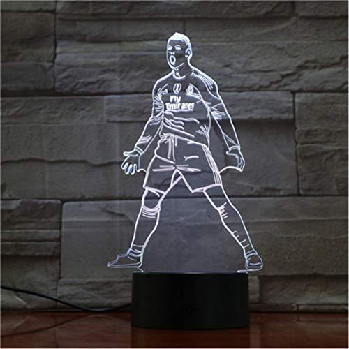 Usb 3d Led Nachtlicht Touch Sensor 7 Farbwechsel Tischlampe Nacht Fußball Lichter Fußballspieler Cristiano Ronaldo Abbildung