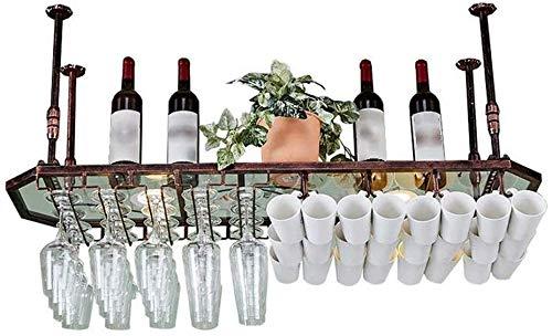 WEM Weinregal, Neuheit Wanddekoration Rack, Weinregal Glas Regal Wand Deckenhalter Achteckige Weinregal Becher Wein Glas Rack auf den Kopf Becher hängen,Bronze,100 x 35 cm