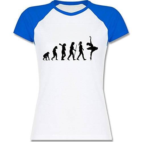 Shirtracer Evolution - Ballett Evolution - Zweifarbiges Baseballshirt/Raglan T-Shirt für Damen Weiß/Royalblau