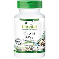 Chrome 200µg (chrome de picolinate) hautement dosé, végan, sans levure, substance pure sans antiagglomérant, 90 comprimés, flacon avantageux pour 3 mois, réduit les attaques de faim