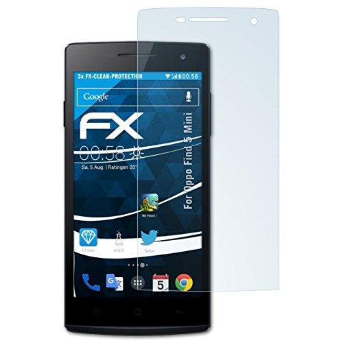 atFolix Schutzfolie kompatibel mit Oppo Find 5 Mini Folie, ultraklare FX Bildschirmschutzfolie (3X)