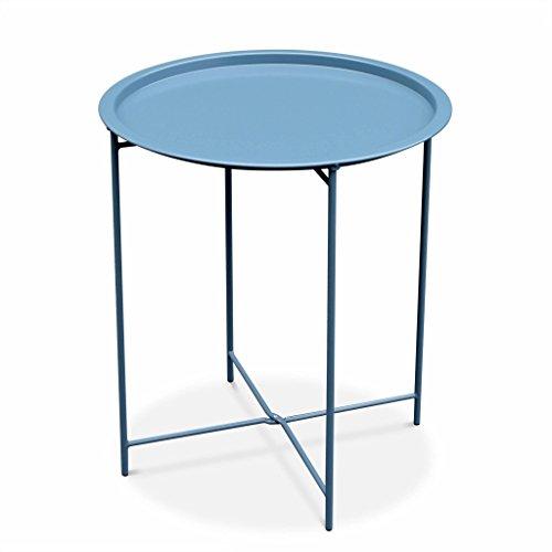 Alice's Garden - Table Basse Ronde – Alexia Bleu Grisé – Table d'appoint Ronde Ø46cm, Acier thermolaqué.