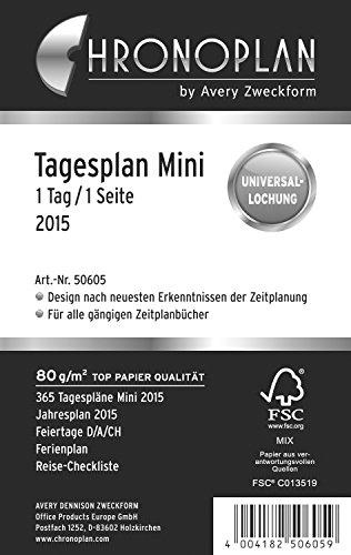Chronoplan 50605 Kalendarium Tagesplan Mini, 1 Tag/1 Seite, 2015, 1 Stück, weiß