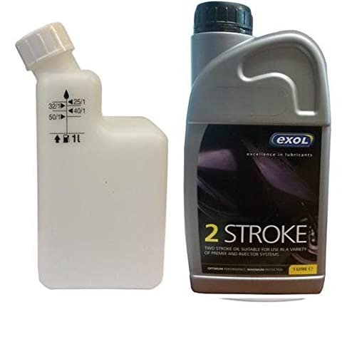 Exol 1 Litre two stroke Oil with mixing bottle - motorbike lawnmower chainsaw strimmer scooter moped 2 stroke oil
