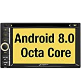Pumpkin Android 8.0 Autoradio GPS 2 Din avec Lecteur DVD Ecran Tactile 6.2 Pouces RAM:4GB ROM:32GB supporte Bluetooth WiFi 4G USB SD Commande au Volant RDS Radio OBD2 Dab+