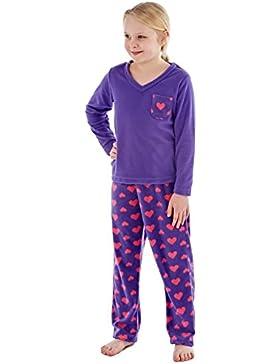 Mädchen Rosie Warm V Neck Micro-Polar-Fleece Pyjama lila oder Aqua 7 bis 13 Jahren.