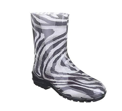 buyAzzo Damen Mädchen Gummistiefel | Freizeit Regenstiefel | Slipper Boots | Kurzschaft Langschaft Gummistiefeletten | Komfort Blockabsatz Schuhe Gr.36-42 | BA100 (40, Zebra)