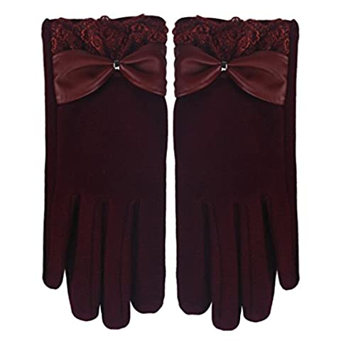 Saingace gloves 1 Paar Winter-Warm Touch Screen Riding Drove Handschuhe für Frauen (Rot)