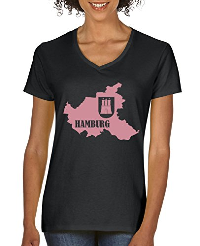 Comedy Shirts - Hamburg Landkarte mit Wappen - Damen V-Neck T-Shirt - Schwarz/Rosa Gr. L - Wappen Schwarzes T-shirt