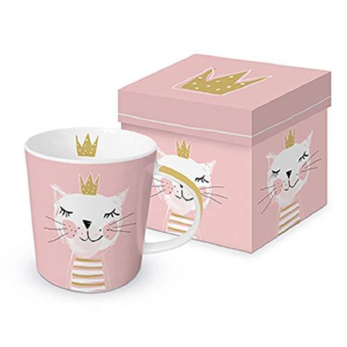 Kaffee-Tasse Happy Birthday Princess pink mit Katzen-Motiv inklusive hochwertiger Geschenkbox - Trend Mug - Henkel-Becher - Geburtstags-Geschenk-Idd Mädchen & Frau-en