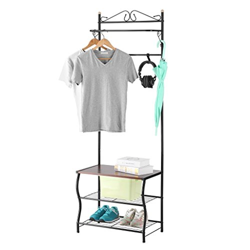 LANGRIA Entryway Metal Storage Shoe Bench with Coat Rack, 3 Tiers and 5 Free Hooks,77.2-83.8 lbs Capacity, Black Finish