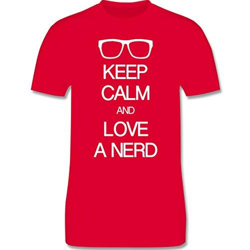 Nerds & Geeks - Keep calm and love a nerd - Herren Premium T-Shirt Rot