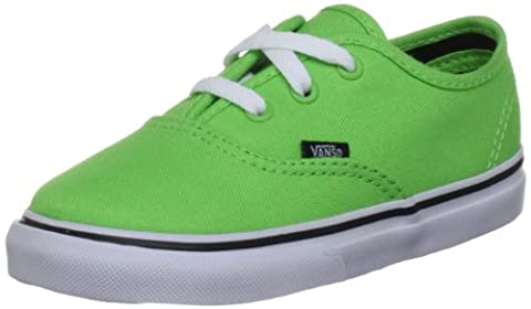 Vans Authentic Canvas, Unisex-Childs' Low-Top Trainers, Green Flash/Black, 12.5 UK Child