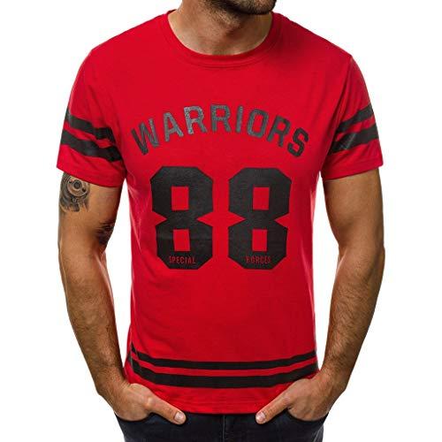 REALIKE Herren Kurzarmshirt Tops Casual Basic O-Ausschnitt Buchstabenmuster T-Shirt Mode Loose Fit Oberteil Summer Sport Bequem Atmungsaktiv Leicht Viele Farben Blusen -