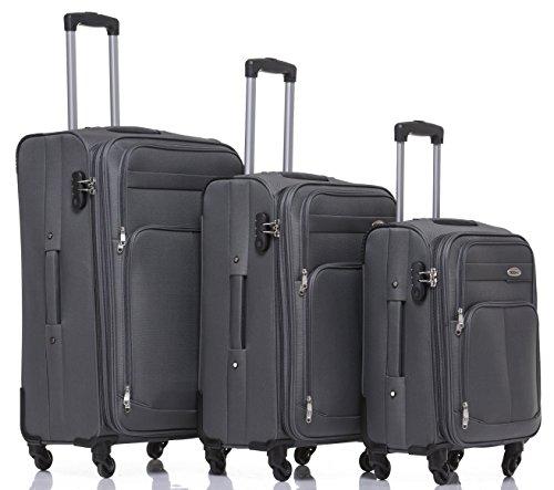 Kofferset Trolley Gepäckset Stoff Dehnungsfuge Koffer Reisekoffer (Grau)