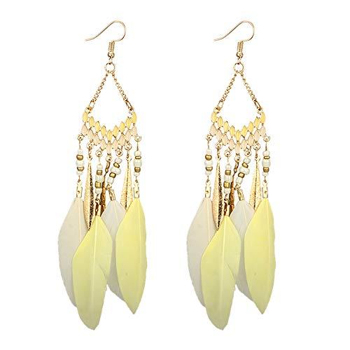 ge Mode Ohrstecker Vintage Frauen Fransen Perlen Lange Feder Mit Passenden n ()