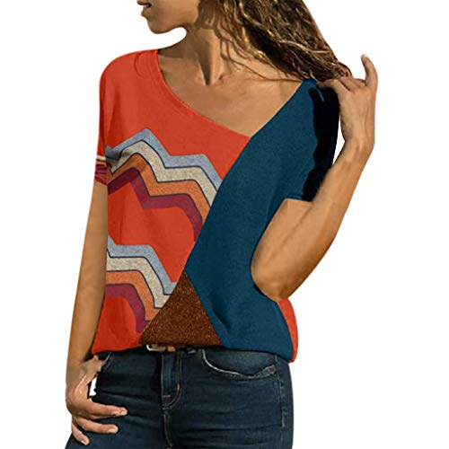 T Shirts, Kurzarm Bluse Camisole Trägershirts Sommer Crop Vest Weste Oberteil Color O-Neck Casual Short Sleeved Patchwork Striped Tops S-5XL ()
