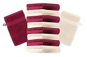 10er Pack Waschhandschuhe Waschlappen Premium Farbe Dunkel Rot & Beige Größe 16x21 cm Kordelaufhänger 100% Baumwolle