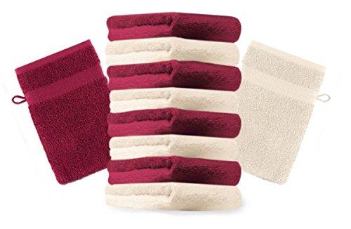 Betz Lot de 10 gants de toilette taille 16x21 cm 100% coton Premium couleur rouge foncé, beige