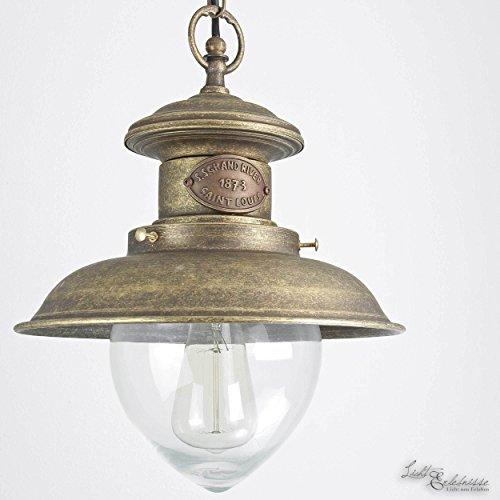 Pendelleuchte Messing Echt Vintage Design Glas Antik Bronze 30cm Premium Hängelampe Handarbeit Wohnzimmer - Glas-antike Bronze Ein Licht