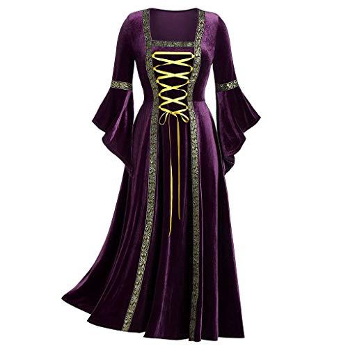Huacat Damen Mittelalter Kleid Gothic Langer Rock Punk Wind Langarm Taille Gebändert Gold Samt Kleid Robe