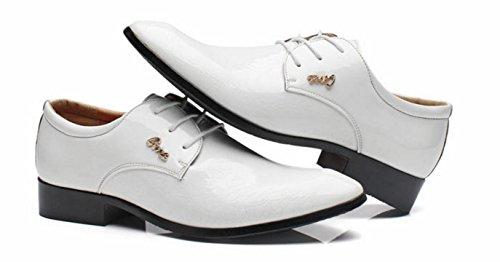 HYLM Il nuovo modello di coccodrillo Solid Color Business Shoes scarpe da sposa Scarpe da uomo casual Scarpe da mare White